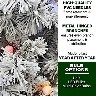 Fraser Hill 4-Ft.Snowy Pine Flocked Slim Christmas Tree, , rollover
