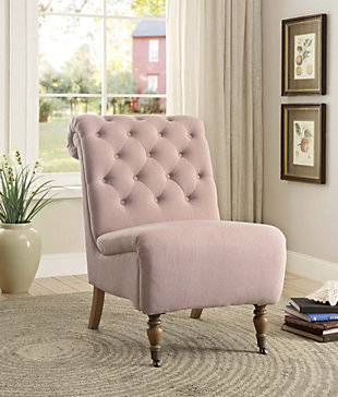 Linon Cora Roll Back Tufted Chair, , rollover