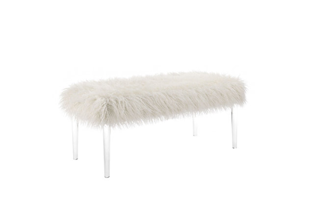 Linon Faux Flokati Bench, , large