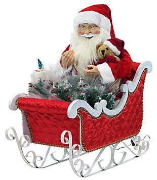 Fraser Hill 28-In. Animated Santa Claus in his Sleigh with Teddy Bear, , large