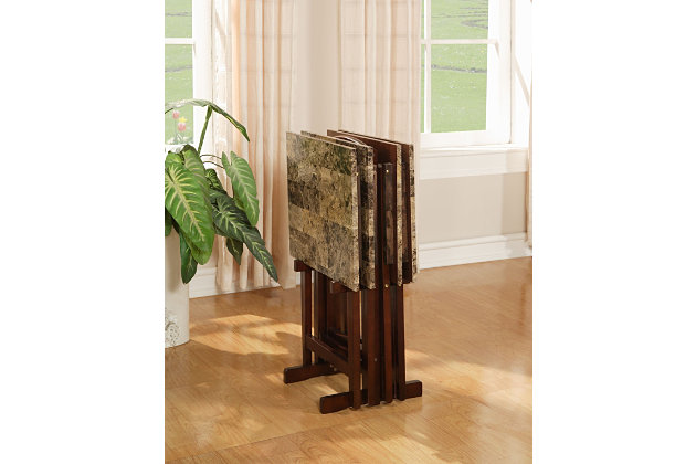 Brown Linon Tray Table (Set Of 4) View 3