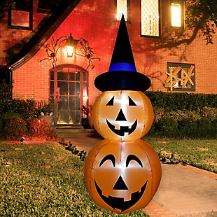 Fraser Hill 10-ft. Inflatable Stacked Pumpkin Duo with Black Hat & Lights, , rollover