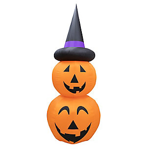 Fraser Hill 10-ft. Inflatable Stacked Pumpkin Duo with Black Hat & Lights, , large
