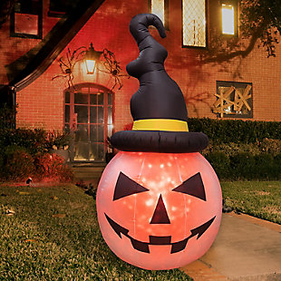 Fraser Hill 10-ft. Inflatable Pumpkin with Black Hat and Fire Lights, , rollover