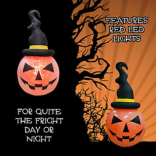 Fraser Hill 10-ft. Inflatable Pumpkin with Black Hat and Fire Lights, , large