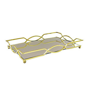 Geometric Gold Mirror Inset Rectangular Tray, , large