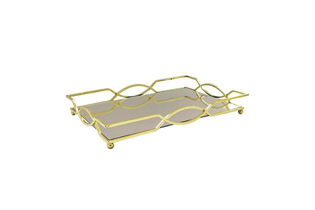 Geometric Gold Mirror Inset Rectangular Tray, , large