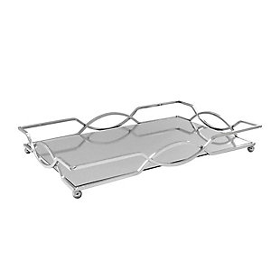 Geometric Silver Mirror Inset Rectangular Tray, , rollover