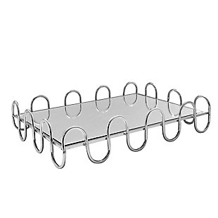 Swirl Silver Mirror Inset Rectangular Tray, , large