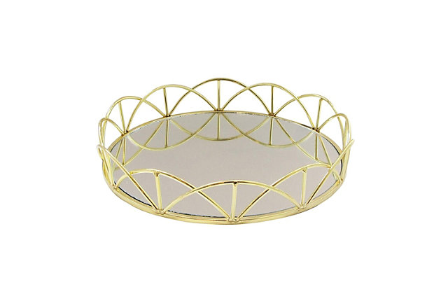 Lace Gold Mirror Inset Round Tray, , large