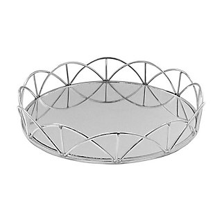 Lace Silver Mirror Inset Round Tray, , large