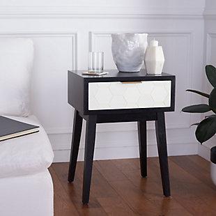 Safavieh Keya 1 Drawer Accent Table, Black/White, rollover