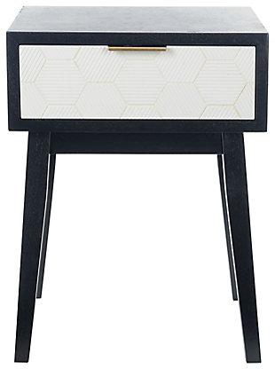 Safavieh Keya 1 Drawer Accent Table, Black/White, large
