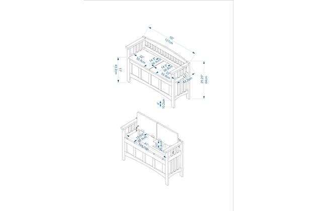 Split Seat Storage Bench, , large