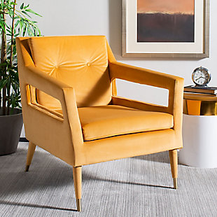 Safavieh Mara Upholstered Accent Chair, Marigold, rollover