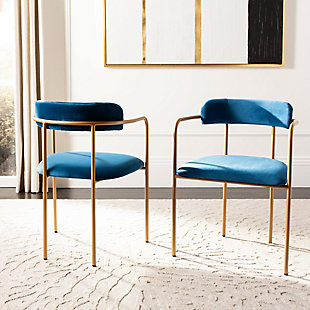 Safavieh Camille Side Chair (Set of 2), Navy/Gold, rollover
