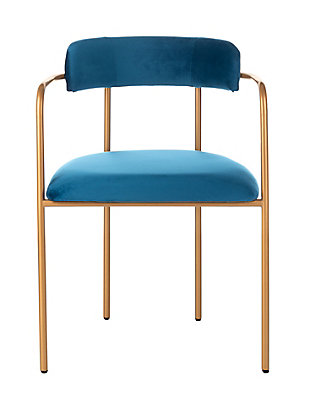 Safavieh Camille Side Chair (Set of 2), Navy/Gold, large
