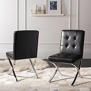 Safavieh Walsh Tufted Side Chair, Black, rollover