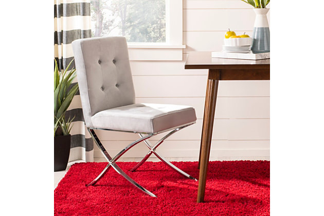 Safavieh Walsh Tufted Side Chair, Gray, large