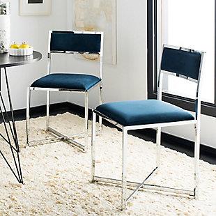 Safavieh Menken Chrome Side Chair (Set of 2), Navy, rollover