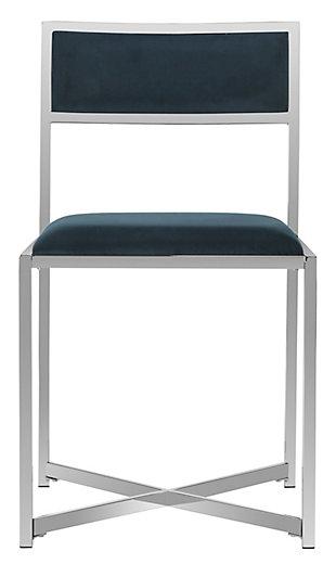 Safavieh Menken Chrome Side Chair (Set of 2), Navy, large