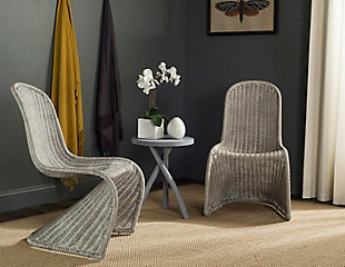 Safavieh Tana Wicker Side Chair (Set of 2), Antique Gray, rollover