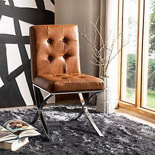 Safavieh Walsh Tufted Side Chair, Light Brown/Chrome, rollover