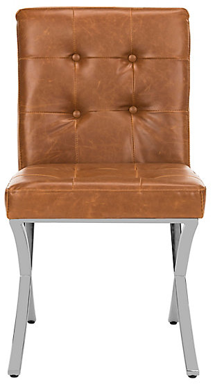 Safavieh Walsh Tufted Side Chair, Light Brown/Chrome, large