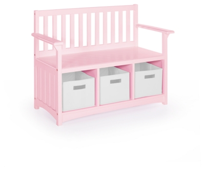 Ashley Guidecraft Classic Storage Bench with Bins - Pink,...