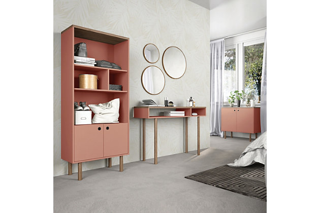 Windsor Accent Cabinet, Pink/Nature, large