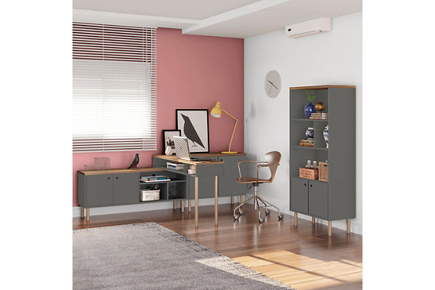 Windsor Accent Cabinet, Gray/Nature, large