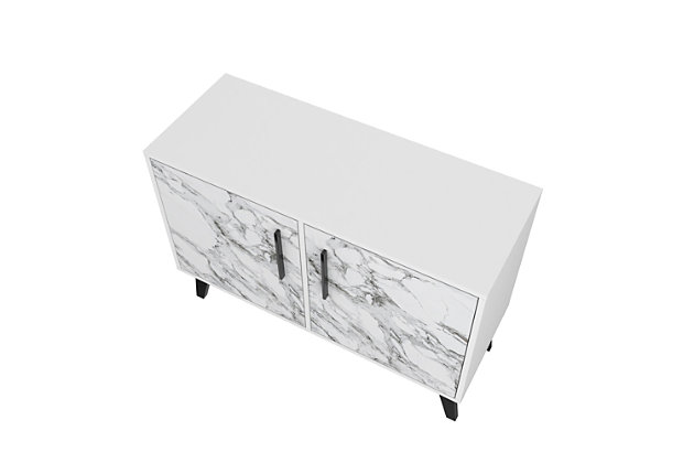 Amsterdam Accent Cabinet, White/Marble, large