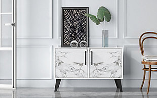 Amsterdam Accent Cabinet, White/Marble, rollover