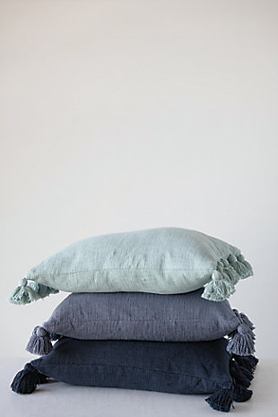 Lumbar Midnight Blue Cotton Slub Pillow with Tassels, , rollover