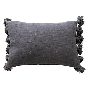 Lumbar Midnight Blue Cotton Slub Pillow with Tassels, , large