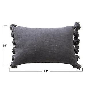 Lumbar Midnight Blue Cotton Slub Pillow with Tassels, , large