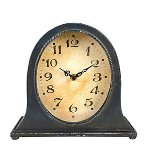 Metal Mantel Clock With Distressed Navy Finish, , large