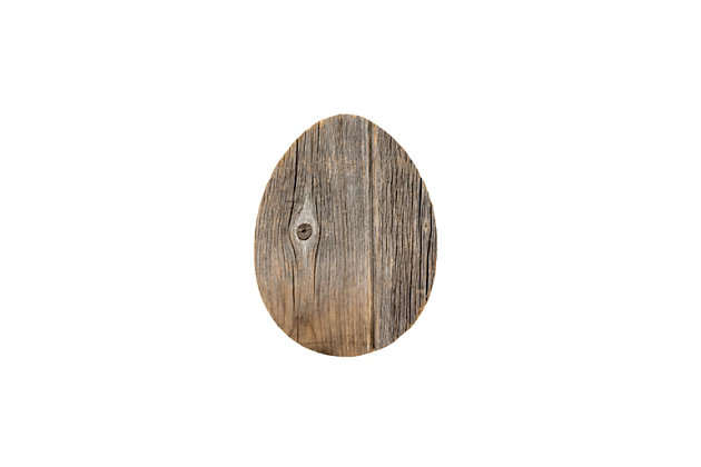 Rustic Farmhouse 6 in. Weathered Gray Wood Egg, Weathered Gray, large