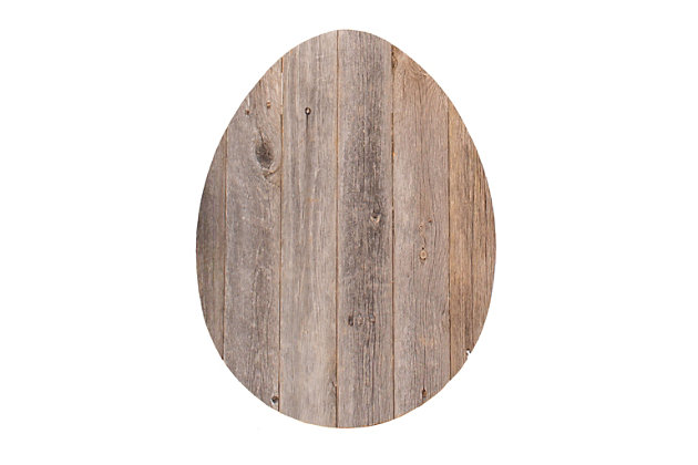Rustic Farmhouse 24 in. Weathered Gray Wood Egg, Weathered Gray, large