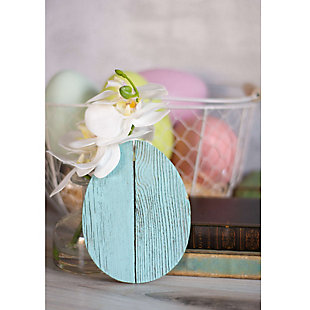 Rustic Farmhouse 6 in. Turquoise Wood Egg, Turquoise, large