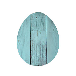 Rustic Farmhouse 8 in. Turquoise Wood Egg, Turquoise, large