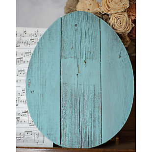 Rustic Farmhouse 12 in. Turquoise Wood Egg, Turquoise, rollover