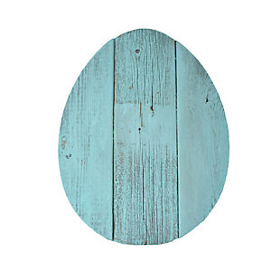 Rustic Farmhouse 12 in. Turquoise Wood Egg, Turquoise, large