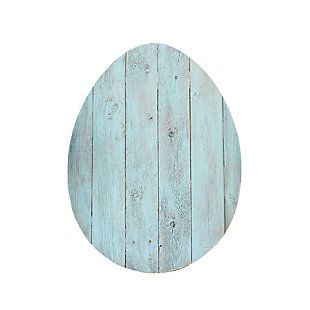 Rustic Farmhouse 18 in. Turquoise Wood Egg, Turquoise, large