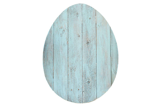 Rustic Farmhouse 24 in. Turquoise Wood Egg, Turquoise, large