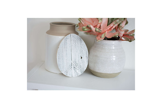 Rustic Farmhouse 6 in. White Wash Wood Egg, White Wash, large