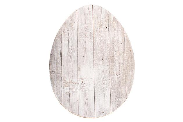 Rustic Farmhouse 24 in. White Wash Wood Egg, White Wash, large