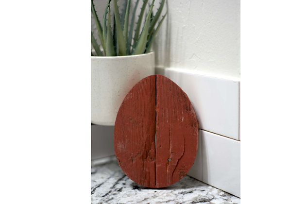 Rustic Farmhouse 6 in. Rustic Red Wood Egg, Rustic Red, large