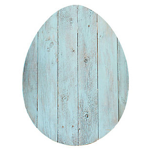 Rustic Farmhouse 24 in. Turquoise Wood Egg (Set of 2), Turquoise, large