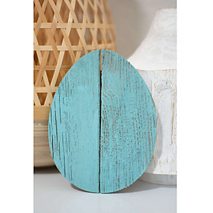 Rustic Farmhouse 6 in. Turquoise Wood Egg (Set of 3), Turquoise, rollover